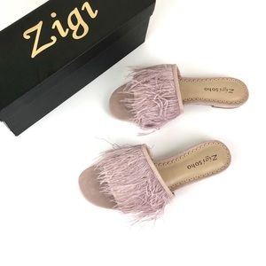 Zigi Soho Taylah Genuine Feather Slide Sandal 7.5